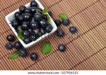 Blueberries in smoll white bowl closeup with leaves