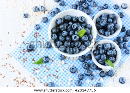 Blueberries ripe berry healthy food background top view - stock photo