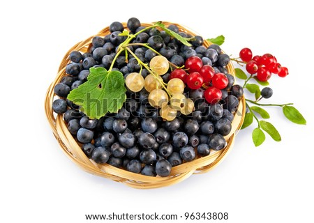 Blueberries with red and white currants in a wicker basket, a sprig of blueberries and red currants with green leaves isolated on white background - stock photo