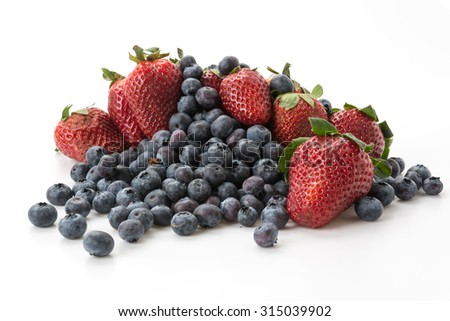 blueberry and strawberry on white background