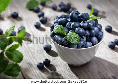 Blueberry antioxidant organic superfood in a bowl concept for healthy eating and nutrition - stock photo