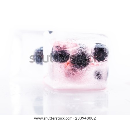 blueberry berry ice solated on white background