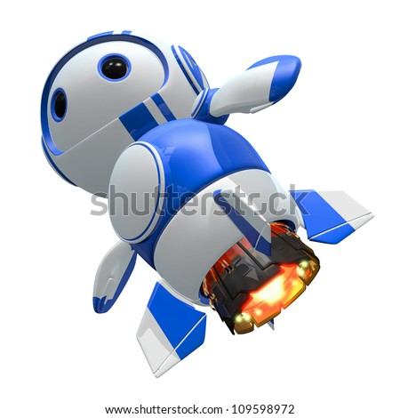Blueberry bot with jet upgrades. Faster, tougher. - stock photo