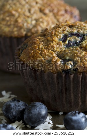 Blueberry Bran Muffins - Close Up - stock photo
