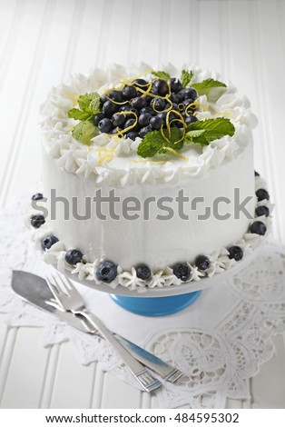 Blueberry cake with vanilla icing decorated with Blueberries, lemon zest and mint leavs.