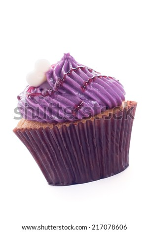 Blueberry Cup cake on white background - stock photo