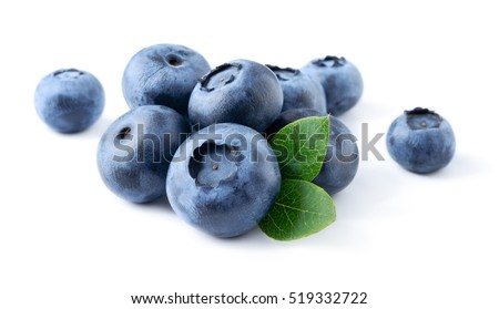 Blueberry. Fresh berries with leaves isolated on white background.