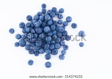blueberry fruit from top view on white background - stock photo