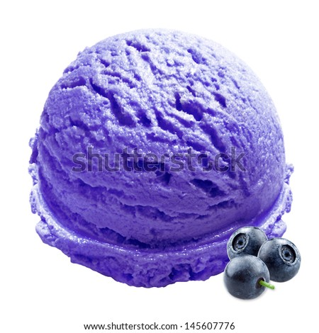Blueberry ice cream with fruits on white background - stock photo