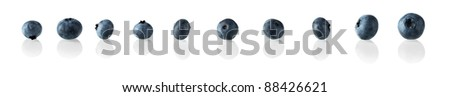 Blueberry in a row - stock photo