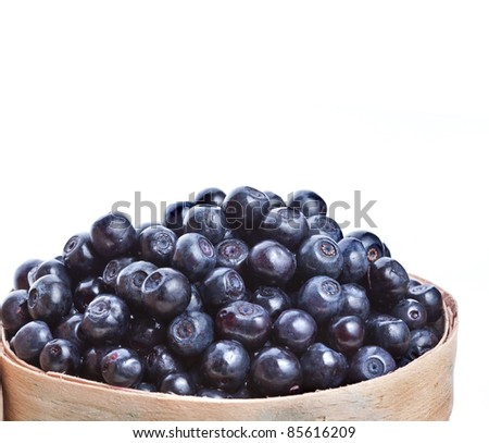 blueberry in the basket isolated on white