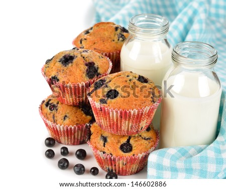 Blueberry muffins and milk on a white background