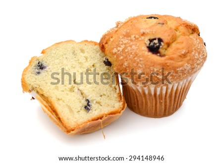 blueberry muffins isolated on white  - stock photo