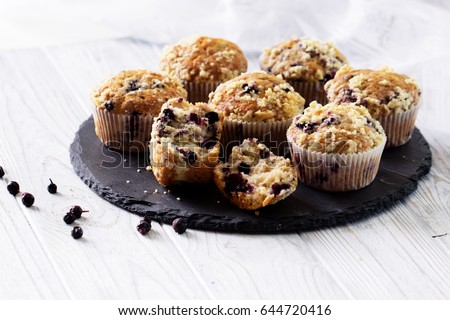 Blueberry muffins with fresh berries. homemade blackberry muffins