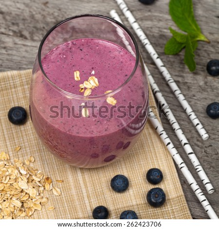 Blueberry Oatmeal Smoothie. Selective focus. - stock photo