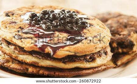 Blueberry Pancake Closeup - stock photo