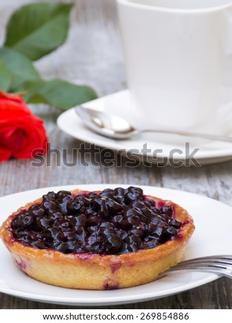 Blueberry pie on white plate with decoration - stock photo
