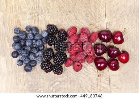 Blueberry, raspberry, blackberry and cherry fruits - stock photo