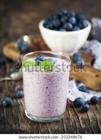Blueberry smoothie. - stock photo