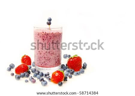 Blueberry smoothie and fresh fruits - stock photo