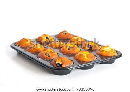 Blueberry tray of muffins isolated on white background. - stock photo