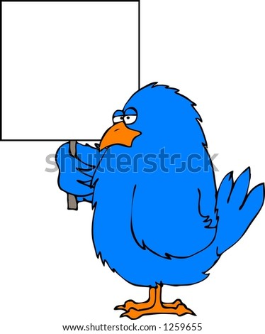 Bluebird with a blank sign - stock photo