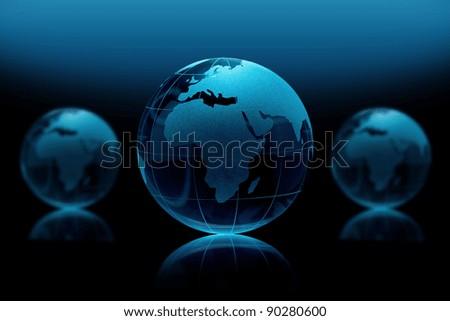 BlueGlass globe on a black background - stock photo