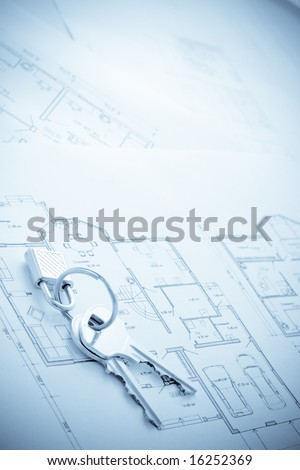 blueprint and keys with lock, building, loan,