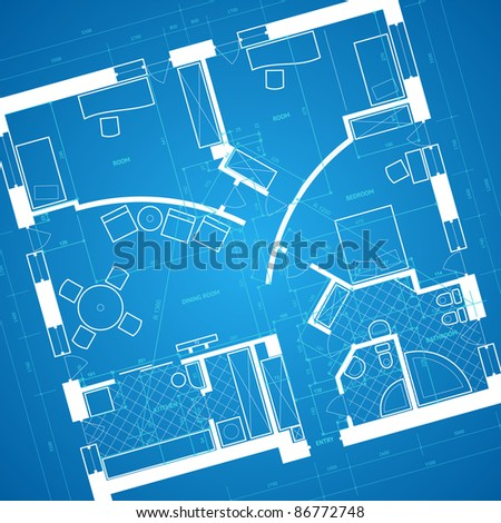 blueprint background in blue and white colors. Raster version. Vector version is also available. - stock photo