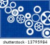 Blueprint Background with cogs - stock photo