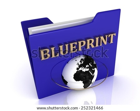BLUEPRINT bright gold letters on a blue folder on a white background - stock photo
