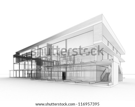 Blueprint design modern office building architects stock blueprint design of modern office building architects and designers drawing malvernweather Gallery