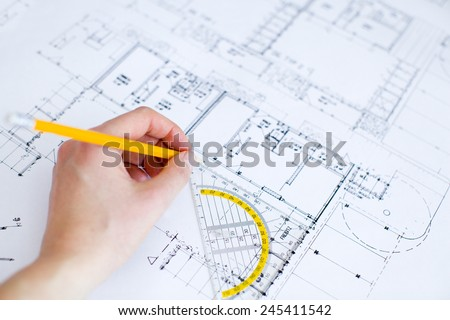 blueprint female hand drawing
