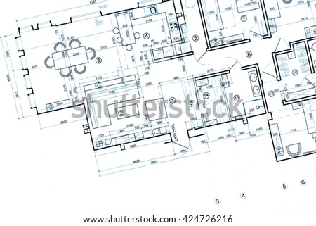 blueprint floor plans, architectural drawings, construction background - stock photo