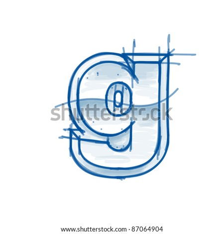 Blueprint font sketch - letter g - marker drawing. Bitmap copy my vector - stock photo