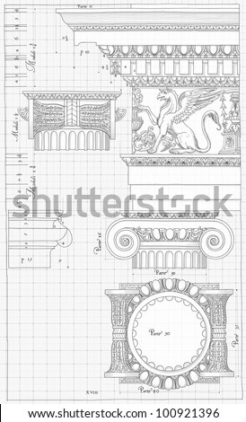 """Blueprint - hand draw sketch ionic architectural order based """"The Five Orders of Architecture"""" is a book on architecture by Giacomo Barozzi da Vignola from 1593. Bitmap copy my vector - stock photo"""