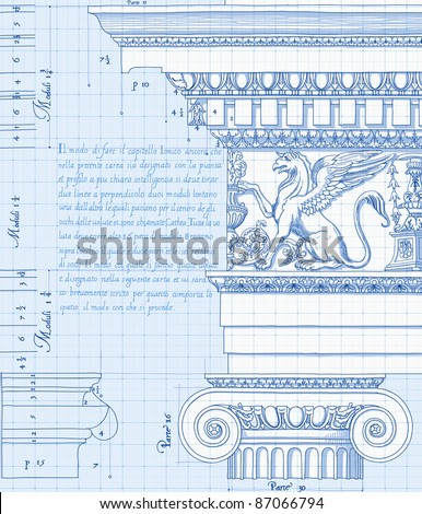 Blueprint - hand draw sketch ionic architectural order. Bitmap copy my vector ID 86211829 - stock photo