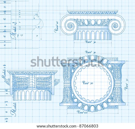 Blueprint - hand draw sketch ionic architectural order. Bitmap copy my vector ID 86211832 - stock photo