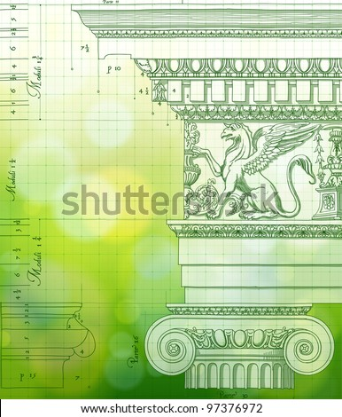 Blueprint - hand draw sketch ionic architectural order & green bokeh background - stock photo