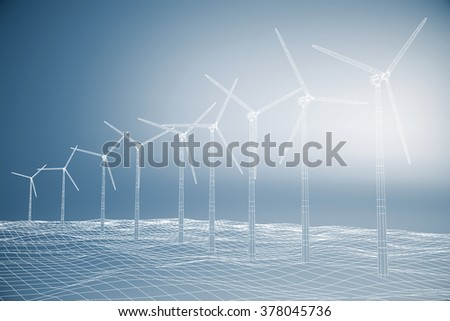 Blueprint of a windmills on a blue background 3D Render
