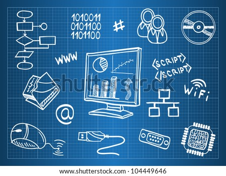 Blueprint of computer hardware and information technology symbols - sketch style - stock photo