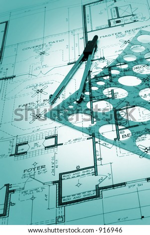 Blueprint of house plans - stock photo