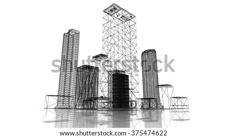 Blueprint of the business district of the city with skyscrapers and apartment buildings. 3d render. - stock photo