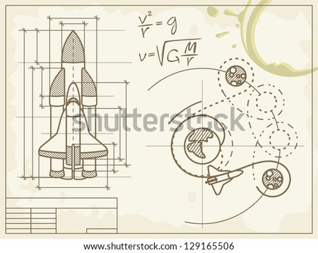 blueprint of the spaceship and its flight path - raster version of vector file - stock photo