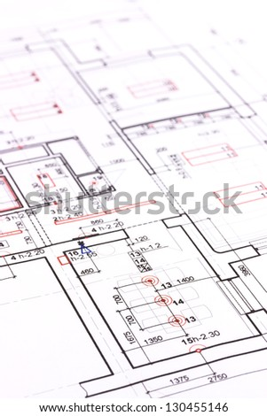 Blueprint or architectural plan background - stock photo