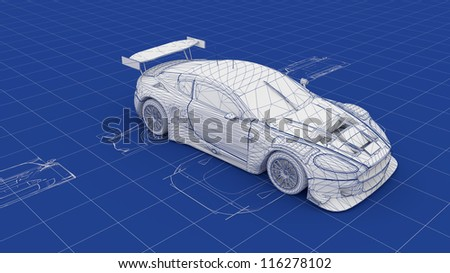 Blueprint Race Car. Part of a series. - stock photo