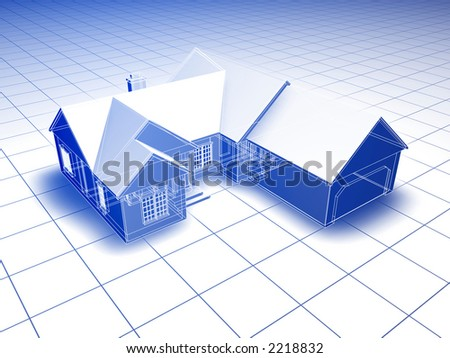 Blueprint style 3D rendered house. Blue shading on white background.