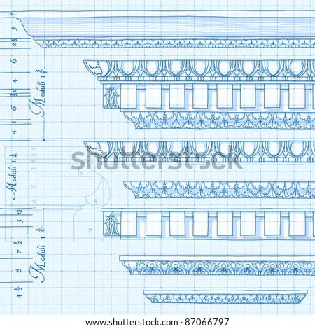 Blueprint - vintage ornaments - hand draw sketch. Bitmap copy my vector ID 86211838