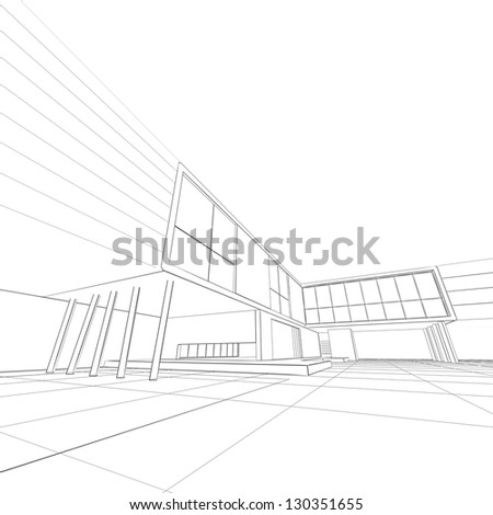 Blueprint white isolated building design 3 d stock illustration blueprint white isolated building design and 3d model my own malvernweather Images