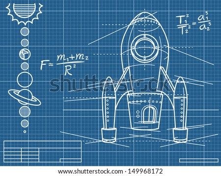 blueprint with spaceship and planets - raster copy of vector illustration - stock photo